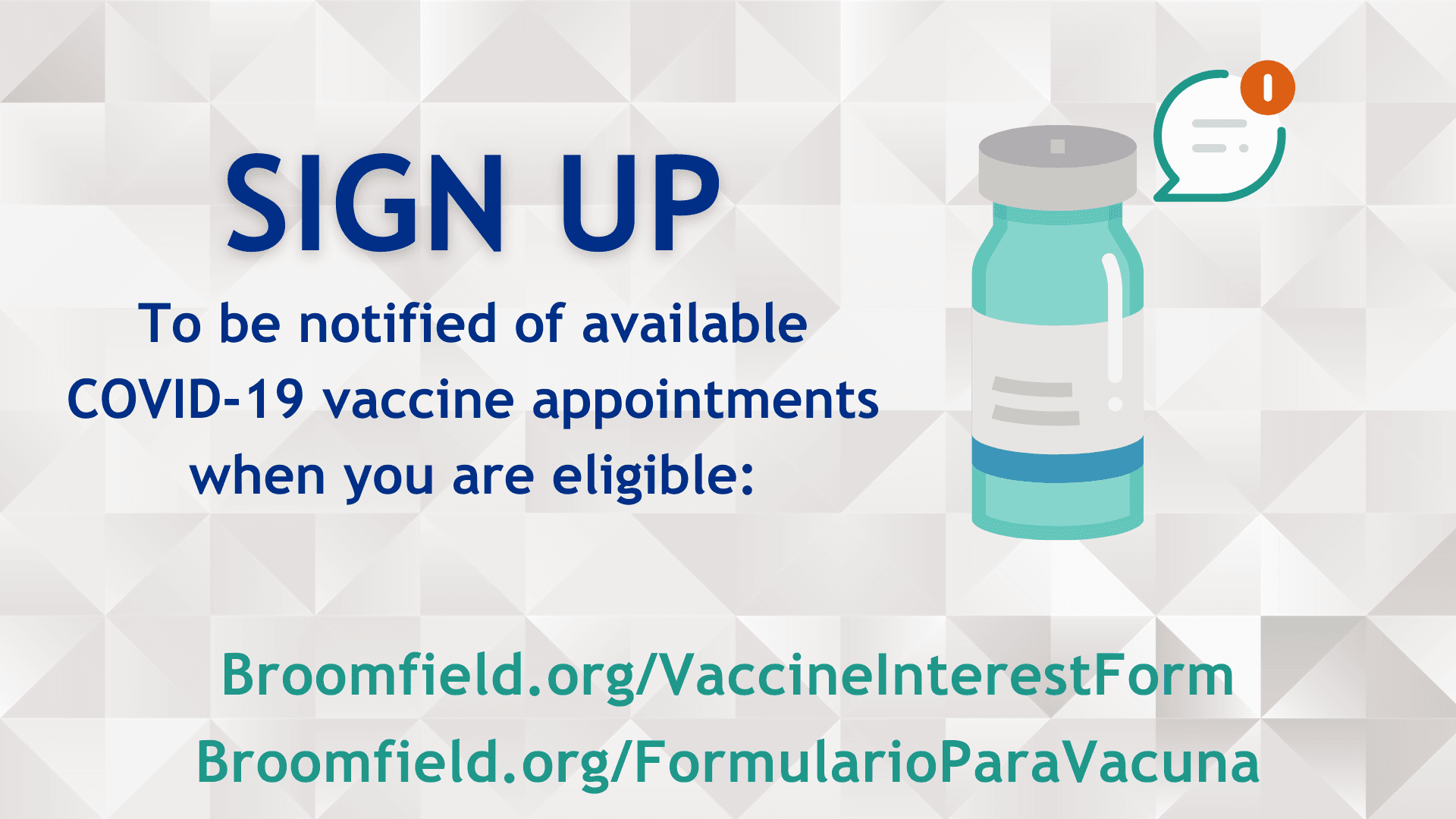 Sign up to be notified of COVID-19 vaccine appointments when you are eligible. Click for info.