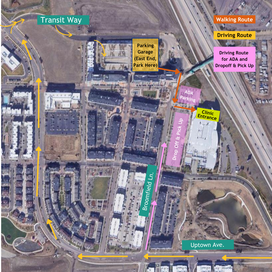 ADA parking will be available next to the North Entrance. Enter from Broomfield Ln. Opens in new window